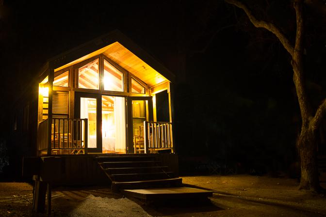 Santa Barbara El Capitan Canyon Glamping Cabin at Night from Side
