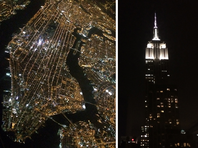 New Yorks City Aerial View of Veins of City and Empire State Building at Night.