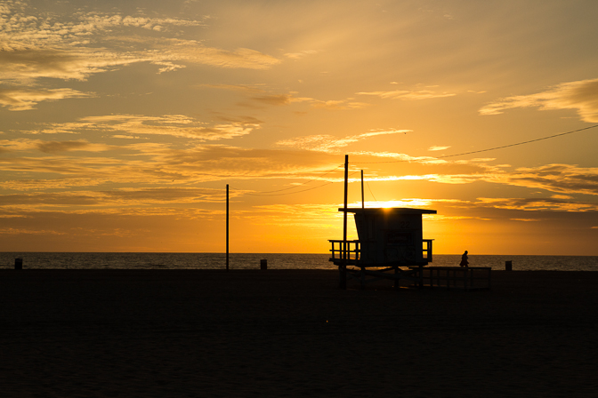 Santa Monica Sunset Lifeguard Stand Golden